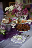 Lilac decoration. Party decoration in lilac colours Stock Image