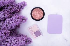 Lilac, decorative cosmetics, postcard royalty free stock photo