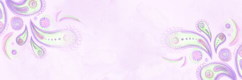 Lilac delicate watercolor paisley horizontal banner. Hand-painted background in bohemian oriental style