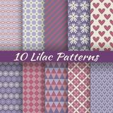 Lilac Different Vector Seamless Patterns (square Stock Photography