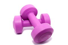 Lilac dumbbells Stock Image