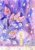 Lilac e vela ilustração do vetor