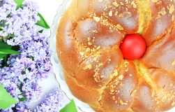 Lilac and Easter bread Stock Image