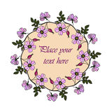 Lilac eglantine frame. Vector round frame with the briar brier . Vector lilac eglantine frame. Invitation template card. Save the date vector circular Royalty Free Stock Photo