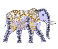 Lilac elephant with  pattern in yellow and brown colors Stock Photo