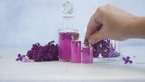 Lilac essence vials stock video