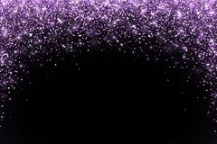 Lilac falling particles round shape on black background. Vector. Illustration Stock Images