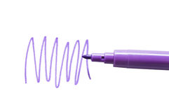 Lilac felt-tip pen isolated on white background stock image