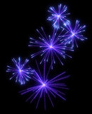 Lilac festive fireworks at night Royalty Free Stock Images