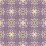 Lilac floral pattern. Seamless pattern with geometric flowers on bright background Stock Photos
