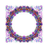 Lilac floral round frame Royalty Free Stock Photos