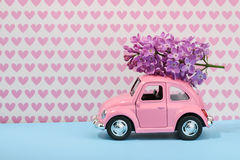 Lilac flower on cartoon toy car with empty space Stock Photos