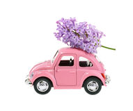 Lilac flower on cartoon toy car isolated without shadow Royalty Free Stock Images