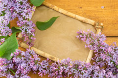 lilac flower and old frame Stock Photography