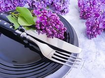 lilac flower plate concrete background table vintage stock images