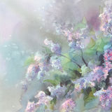 Lilac flower watercolor. Violet lilac flower branches in vase watercolor background Stock Photo