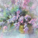 Lilac flower watercolor. Violet lilac flower branches in vase watercolor background Stock Photography