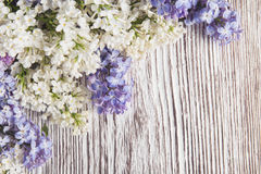 Lilac Flowers Bouquet on Wooden Plank Background royalty free stock photo