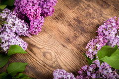 Lilac flowers on brown wood background. Bunch of lilac flowers on brown wood diagonal texture with empty space for text Royalty Free Stock Photos