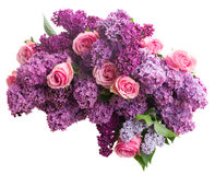 Lilac flowers. Bunch of purple Lilac flowers with pink roses isolated on white background Stock Photography