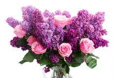 Lilac flowers. Bunch of purple Lilac flowers with pink roses isolated on white background Royalty Free Stock Photo