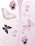 Lilac flowers, butterflies and curls Stock Photos
