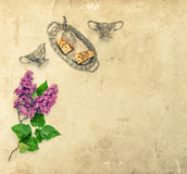Lilac flowers Coffee tea pie silver dishes Paper texture Stock Images