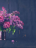 lilac flowers on a dark wooden background Royalty Free Stock Photos
