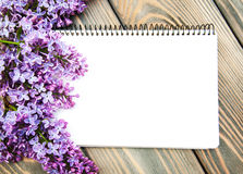 Lilac flowers with empty note Stock Photography