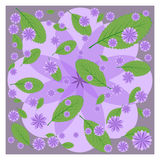 Lilac flowers and green leaves on purple Stock Images