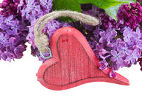 Lilac flowers with heart Stock Photos