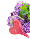 Lilac flowers with heart Stock Photo