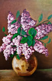 Lilac flowers oil painting Royalty Free Stock Images
