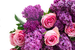 Lilac flowers with roses Royalty Free Stock Photography