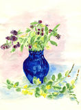 Lilac flowers in vase. Watercolor hand drawn pictures flowers in vase Royalty Free Stock Image