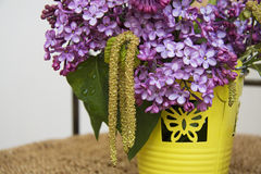 Lilac flowers in vase closeup Royalty Free Stock Photo