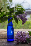 Lilac flowers in vase on the wooden window sill.  Royalty Free Stock Image