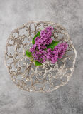Lilac flowers vintage plate stone background Royalty Free Stock Images