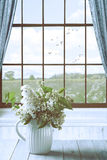 Lilac Flowers In Window Royalty Free Stock Images