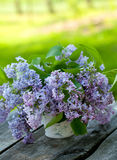 Lilac flowers on wooden table Royalty Free Stock Photos