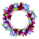 Lilac and Forget-me-not Flower Round Frame Royalty Free Stock Photos