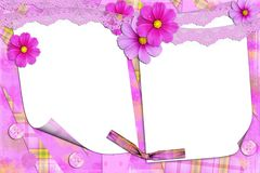 Lilac frame with florets. On two cuts for photos Royalty Free Stock Photos