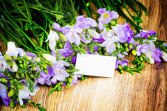 Lilac freesia flowers and a greeting card Stock Photo