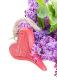 Lilac fresh flowers with red heart Royalty Free Stock Photos