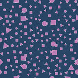 Lilac geometric shapes. Seamless pattern on a dark background. Stock Photography