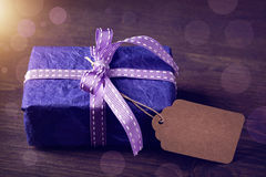 Lilac gift box on Stock Images