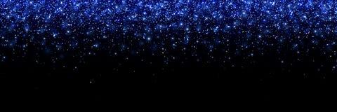 Blue glittering particles on black background, wide banner. Vector. Illustration vector illustration