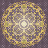 Ornamentala background. Lilac and gold postcard with ornamental mandala Royalty Free Stock Photography