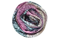 Lilac and gray silk scarf isolated on white background Royalty Free Stock Photography