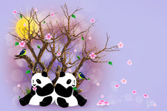 Lilac Greeting Card With Pandas Stock Photos